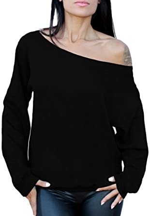 339f781a7bf37 Awkwardstyles Women s Sexy Off The Shoulder Slouchy Oversized Sweatshirt S  Black