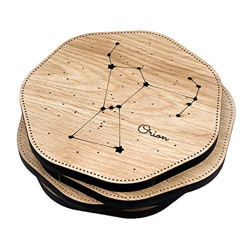 Townside Constellation Coasters Heptagon Tableware (Orion, Leo, Cassiopeia, Taurus), Set of 4, Wooden