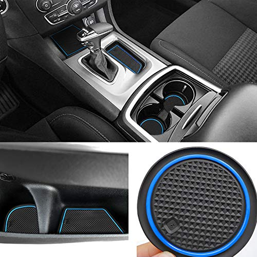 Auovo Anti dust Mats for Dodge Charger 2015 2016 2017 2018 2019 Accessories Custom Fit Door Pocket Liners Cup Holder Pads Console Mats(22pcs/Set) (Blue)