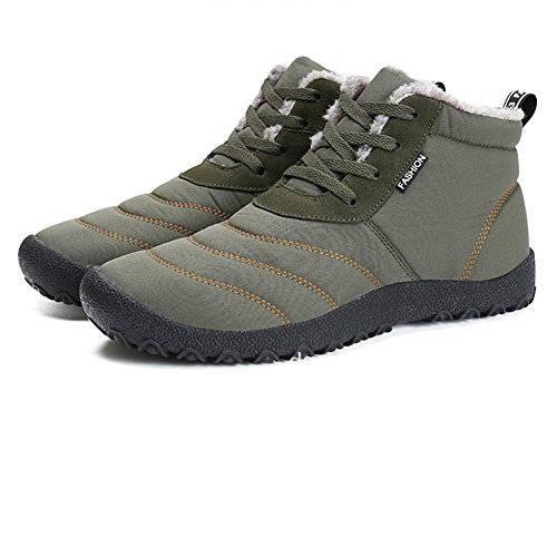 Moodeng Snow Boots for Women and Men Waterproof Non-Slip Warm Lace up Cotton Shoes Outdoor Green