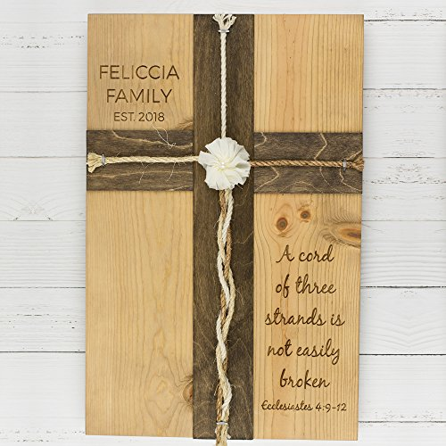 3 Strand Antique - Personalized Family Wood Sign - A Cord of Three Strands Wedding Cross