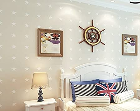 Modern Minimalist Mediterranean Blue Children Wallpaper Cute Star Bedroom WallpaperBeige