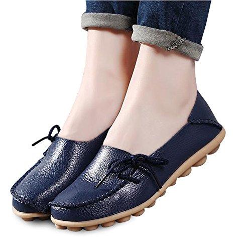 Modemarke beste Show Frauen Leder Loafers Wohnungen Casual Runde Zehe Mokassins Wild Breathable Driving Shoes Dunkelblau2