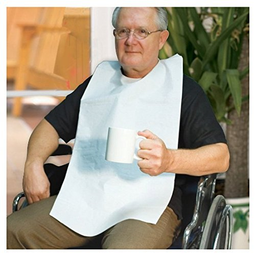 Bibs Napkleen Disposable - Disposable Adult Tie-Back Poly Bibs (Set of 50)