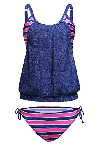 Vilania Women Tankini swimsuit Stripes Lined Up Double Up Two Pieces Bikini Swimwear Set Plus size Bathing Suit Tummy Control,TXZ9021-Blue Pink-L