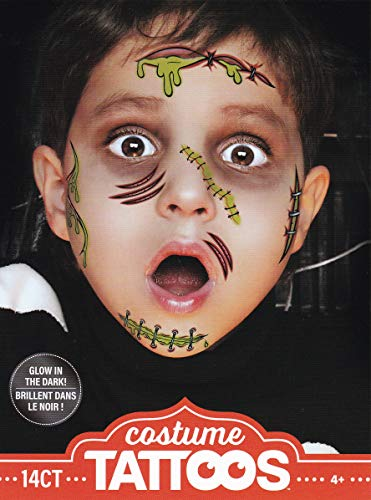 Halloween Realistic Glow-in-the-Dark Temporary Costume Make Up Face Tattoo Kit Boy or Girl - (Child Zombie) - 2 Kits