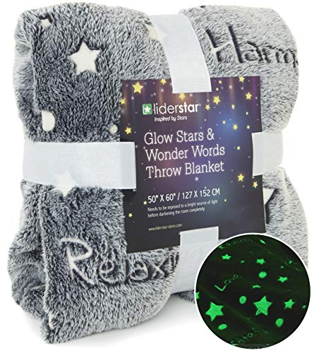 LIDERSTAR Glow in The Dark Throw Blanket 50 x 60'' Super Soft Polyester Fleece,Decorated with Night Stars and Words of Encouragement,Wrap Your Loved One in Positivity for Adults and Kids– (Gray