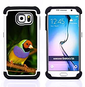 - parrot tropical bird purple green jungle - - Doble capa caja de la armadura Defender FOR Samsung Galaxy S6 G9200 RetroCandy