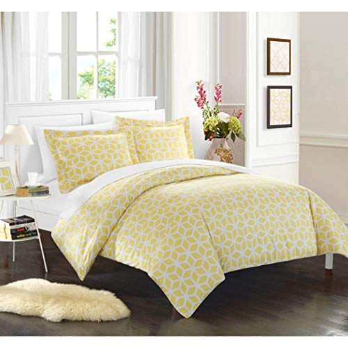 Set Cube Comforter (3 Piece Yellow White Modern Geometric Pattern Duvet Cover Queen Set, Eye-Catching Gold Stylish 3D Square Cube Print Comforter Cover Bedding Solid Hippie Textured Design, Casual Style, Soft Microfiber)