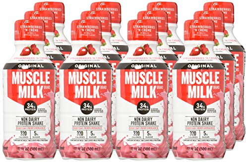 Muscle Milk Original Protein Shake, Strawberries 'N Creme, 34g Protein, 17 FL OZ (Pack of 12)