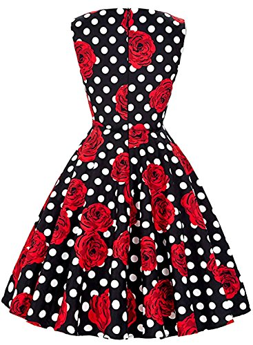 OWIN Women's Vintage 1950's Floral Spring Garden Picnic Dress Party Cocktail Dress (M, Black+Polka dot+Rose)