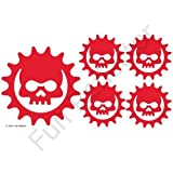 Red Skull Cog Bicycle Reflective Reflector Sticker Decal