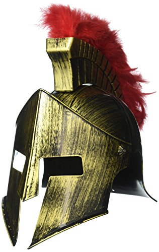 OliaDesign Roman Helmet with Red Feathers Gladiator, Gold, One Size (2)