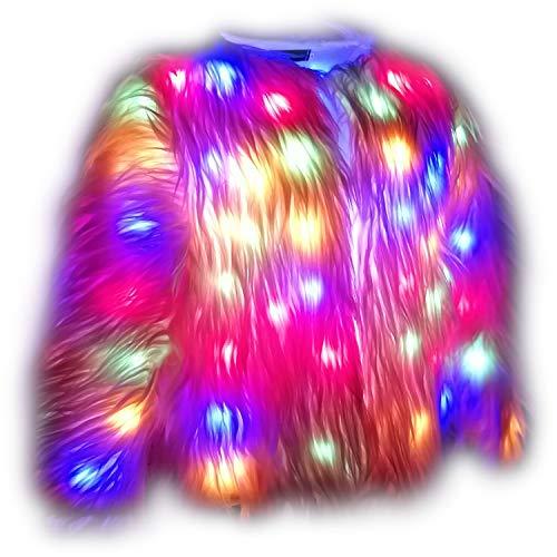 (i-KindPec Soft Faux Fur Led Jacket Light up Winter Coat for Halloween Xmas Party Costume Plus Size 6XL (Pink,)