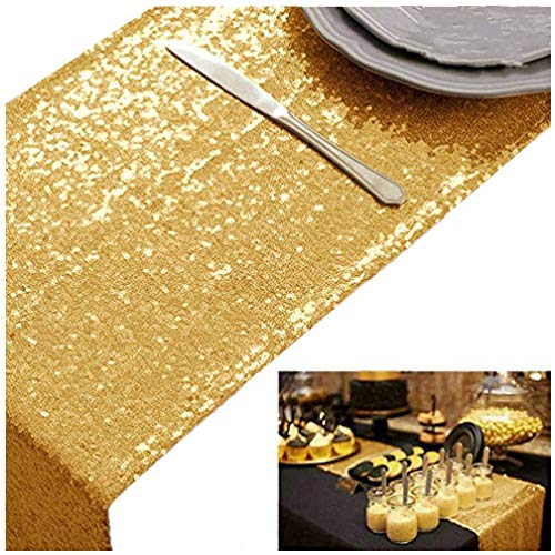 (ShinyBeauty Gold Bridal Shower Decorations 5pcs Gold-12x72-Inch Sequin Table Runners Champagne Rectangle Party Supplies -0719E)