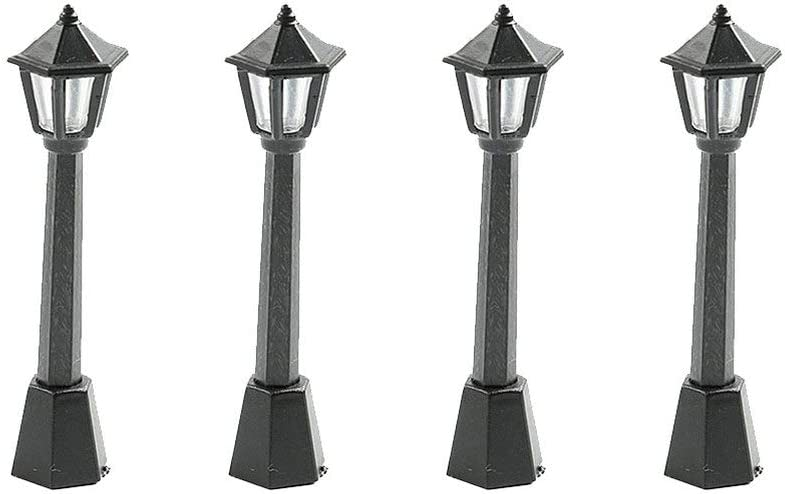 SUPVOX Mini Street Light Model Railway Train Lamp Post Lights Outdoor Pathway Lantern Post for Doll House Micro Landscape Fairy Garden Accessories 4pcs