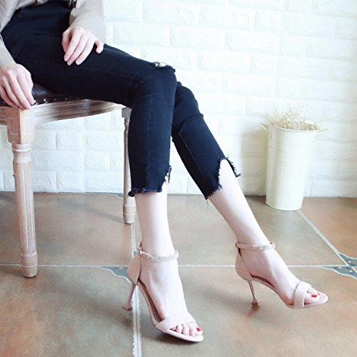 punta punta diamante YMFIE trimestre tacco cava alto In stile estate lady europeo sandali Pink di scarpe xwp0a8qpX
