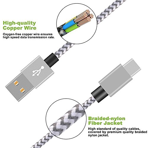 USB Type C Cable,THRRLY Nylon Braided USB A to USB C Long Cord Fast Charger Cable for Samsung Galaxy S9/S9 Plus/S8 Plus/Note 8,LG G6/G5/V20,New Macbook and more. (Silver+Gray 3FT) by THRRLY (Image #1)