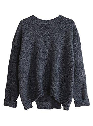 futurino sólido largo gota de la mujer mangas Loose Knit Pullover Sweater Negro