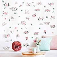Easma Pink Rose Wall Decals Wall Art Decor Girls Nursery Decals, Bedroom Wall Stickers, Living Room Floral Room Sticker 59pcs