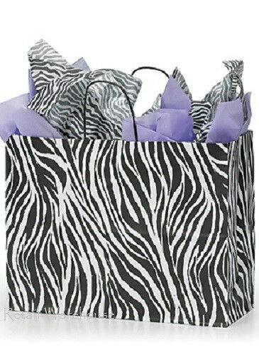 Buy All Store 100 Paper Bags Shopping Vogue Zebra Print Merchandise Black White 16 x 6 x 12 ½