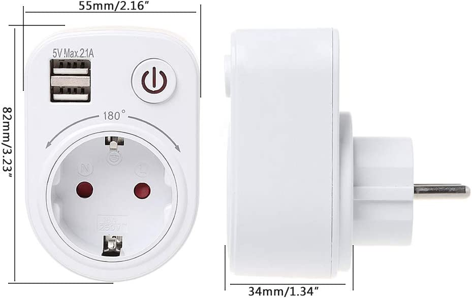 Guangtian Chargeur de voyage avec 2 ports USB