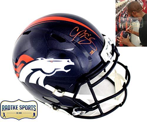 Champ Bailey Autographed/Signed Denver Broncos Riddell Speed Full Size NFL Helmet