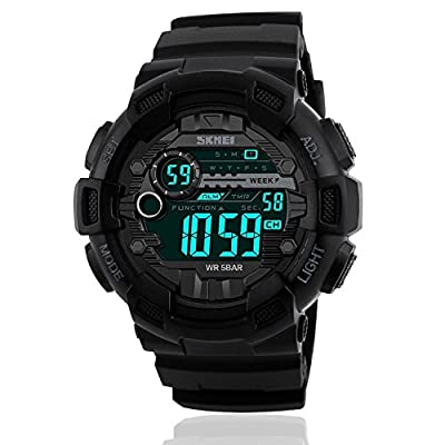 Mens Sport Digital Waterproof Military LED Casual Silicone Watch with Stopwatch Army Chronograph Alarm Calendar Luminous - Black