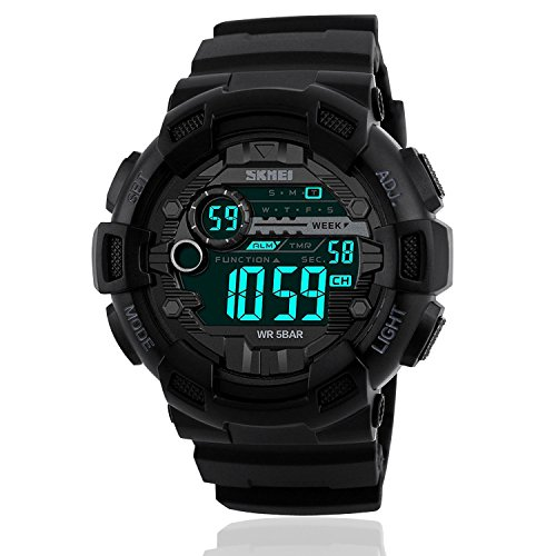 Mens Sport Digital Waterproof Watch Military LED Electronic Casual Watches with Stopwatch Chronograph Alarm Calendar Luminous Army Watch – Black
