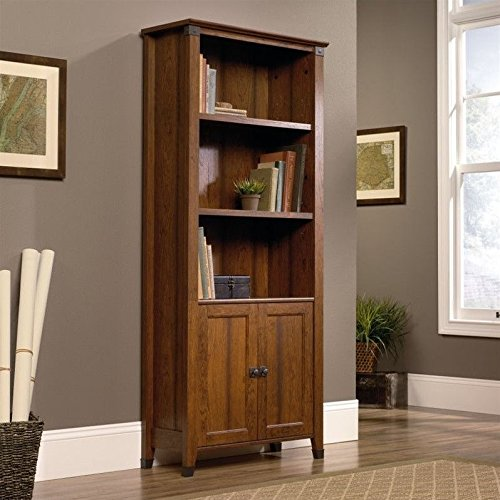 sauder-416967-carson-forge-library-with-doors-washington-cherry