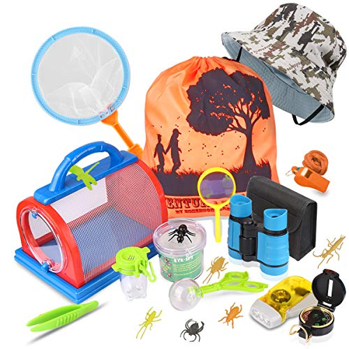 Outdoor Explorer Kit & Bug Catcher Kit with Binoculars, Flashlight, Compass, Magnifying Glass, Backyard Exploration Critter Case, Butterfly Net and Backpack Great Children's Toy Boys Girls Kids Gifts