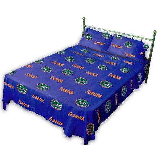 Collegiate Gators Queen Sheet Set - Blue NCAA University Florida Bedding Sheets Queen Bed (Sheet University Set)