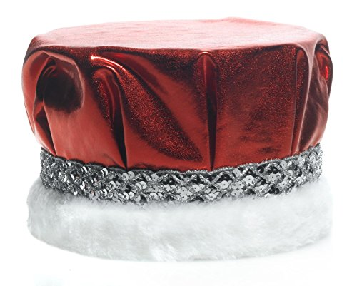 TCDesignerProducts Royal Red Metallic Crown With Silver Sequin Band and White Faux Fur Trim, 6 1/2 inches (Silver Sequin Band)