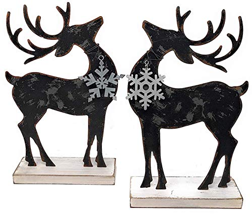 (Transpac Set of 2 Reindeer Standing Metal Statue Christmas Holiday Figurine Small Home Office Fireplace Mantel Decoration Ornaments)