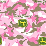 John Deere Camo Fleece Logo Fabric by The Yard, 59/60-Inch Wide, Pink