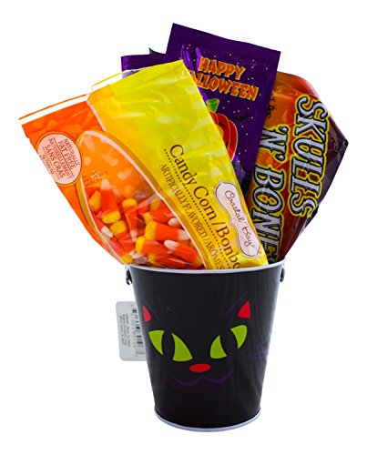 [Halloween Candy Gift Basket - Includes Candy Corn, Skull and Bones Candy, Popping Candy and Halloween Metal Pail (Cat)] (College Halloween Gifts)