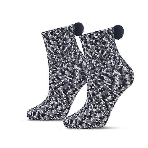 Women's Cozy Super Soft Warm Fuzzy Plush Crew Socks with Gift Box(2 Pairs) (2Black)