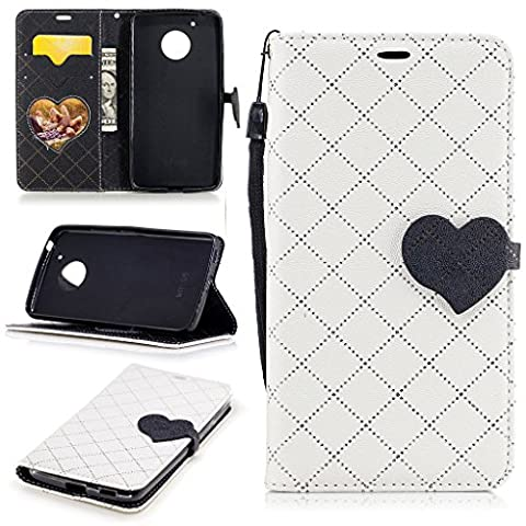 Leather Wallet case for Motorola Moto G5 with [Tempered Glass Screen Protector], Cute Heart Flip Cover Case with Card Holder Kickstand Durable Detachable Embedded Magnetic for Moto G (Motorola G Glass Covers)