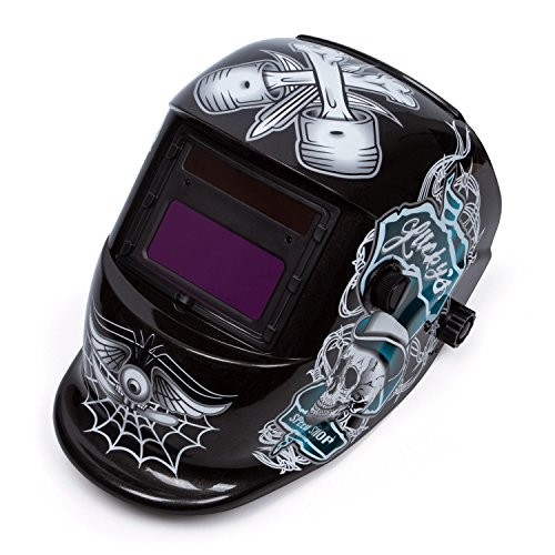 Solar Power Auto Darkening Welding Helmet Viewing Size 362x165 For Arc Tig Mig Plasma CSA ANSI Certified Skull Hood