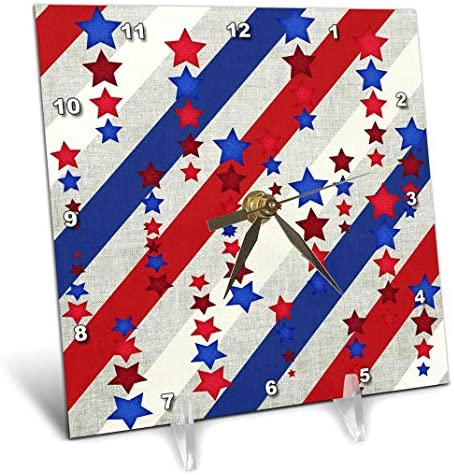 3dRose dc_192592_1 Stars Stripes in Red, White Blue Desk Clock, 6 by 6