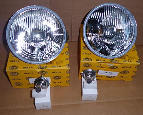 "Hella 7"" Round E code Headlamp Kit with 100/80w Bulbs - PAIR"