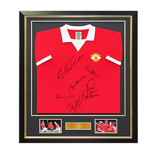 Manchester United Soccer Jersey Signed By Cristiano Ronaldo, Bobby Charlton, Eric Cantona, Denis Law, Bryan Robson and Ryan Giggs. In Deluxe Black Frame With Gold Inlay