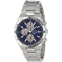Seiko Men's SNA695 Alarm Chronograph Silver-Tone Watch, Blue