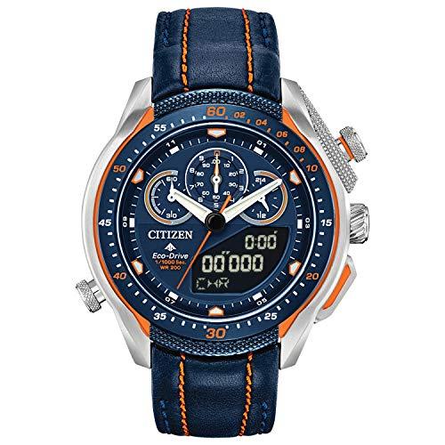Citizen Men's Promaster Stainless Steel Quartz Watch with Leather Strap, Blue, 22 (Model: JW0139-05L)