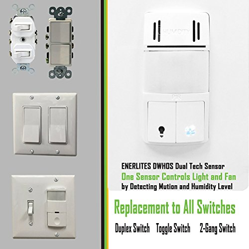 Humidity control switch by enerlites 2 in 1 humidity motion sensor switch new ebay Humidity activated bathroom fan