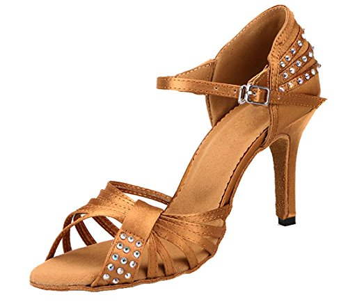 Samba 8 Strap Out Latin Tango TDA Single Crystals Womens 5cm Stiletto Dance Brown Cut Salsa Shoes Satin High Heel Modern T70g7wq