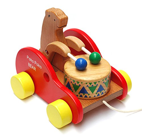 Frealm Walking Toy Walker Walk A Long Toys Wooden Walking Toy Push Pull Walk Behind Toy Bear Knock the Drum Walking Toys for for Baby Boys Girls Toddlers Kids