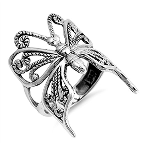 Oxidized Butterfly Rope Wing Animal Ring New 925 Sterling Silver Band Size 9