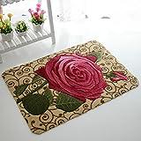 Sytian 15.75x23.62 Inch Rural Rug Rose Flower Rug Decorative Doormat Floor Mat Bath Mat Bedroom Carpet Shaggy Area Rug Bathroom Shower Rug (Beautiful Rose)