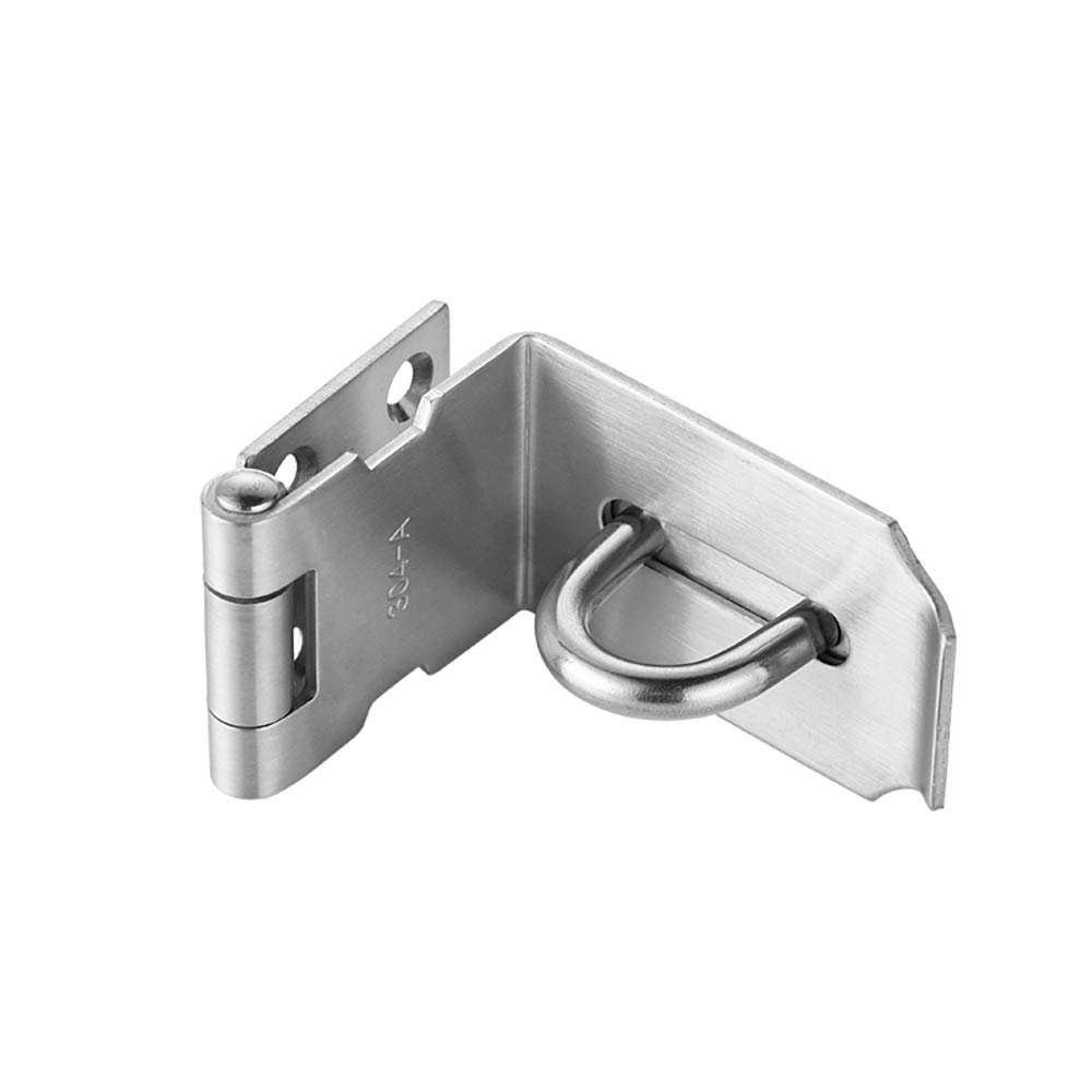 JQK Door Hasp Latch 90 Degree, Stainless Steel Safety Angle Locking Latch for Push/Sliding / Barn Door, 1.5mm Thickness Satin Nickel, 5 Inch